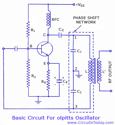 colpitts oscillator using transistor circuit diagram and. Black Bedroom Furniture Sets. Home Design Ideas