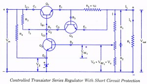 Controlled Transistor Series Regulator With Short Circuit Protection