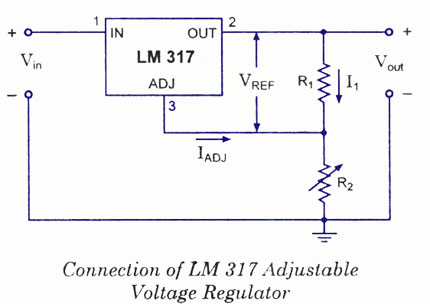 variable voltage power supply from fixed voltage regulator, Wiring circuit