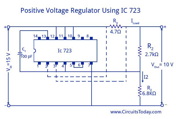 Positive Voltage Regulator Using IC 723
