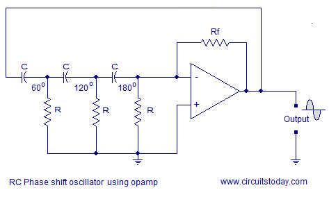 phase shift oscillator using opamp