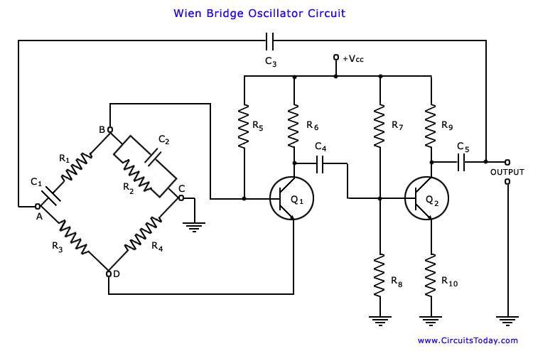 wien bridge oscillator - electronic circuits and diagram, Circuit diagram