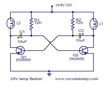 24V flasher circuit 24v flasher circuit electronic circuits and diagram electronics 12v flasher circuit diagram at bayanpartner.co