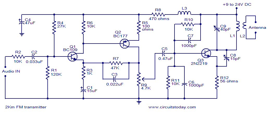 [TVPR_3874]  2 KM FM Transmitter - Detailed Working with Circuit Diagram | Wiring Diagram For Transmitter |  | CircuitsToday