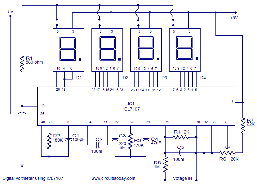 digital voltmeter using icl7107 electronic circuits and diagrams rh circuitstoday com voltmeter circuit diagram using 7107 voltmeter circuit diagram with pcb