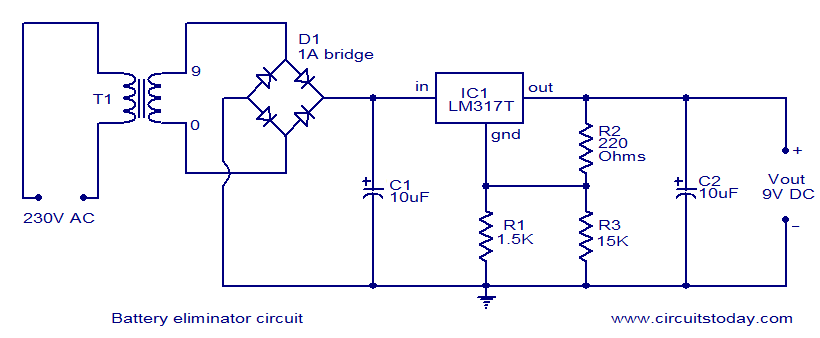 battery eliminator circuit electronic circuits and diagrams rh circuitstoday com FM Transmitter Circuit Diagram