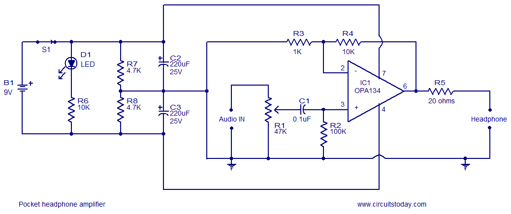 pocket headphone amplifier circuit