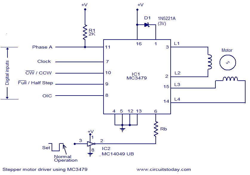 stepper motor driver using mc  electronic circuits and, circuit diagram