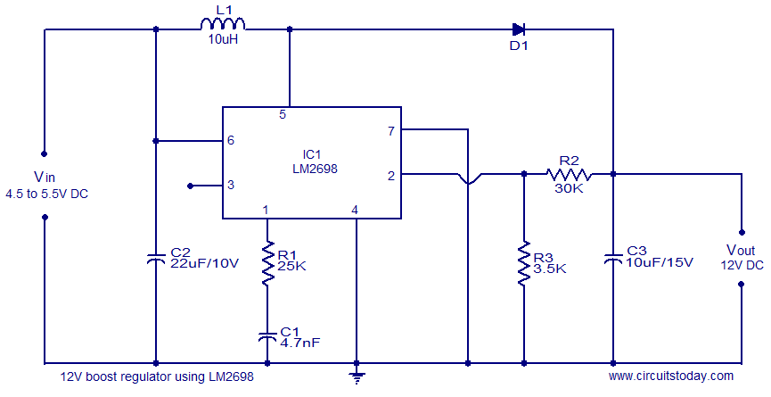 12V boost regulator circuit 12v boost regulator circuit electronic circuits and diagram 12 volt voltage regulator diagram at gsmx.co