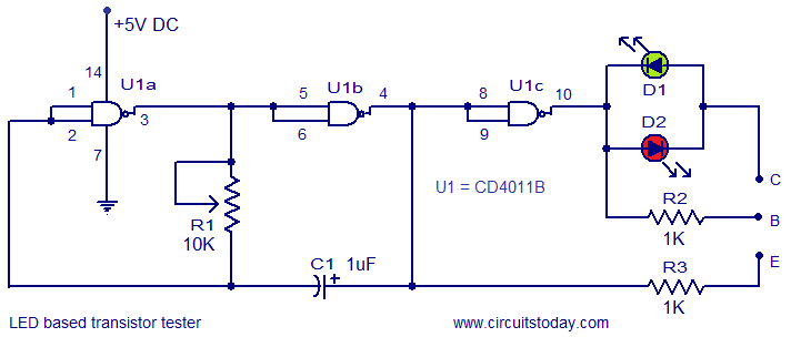 LED based transistor tester circuit
