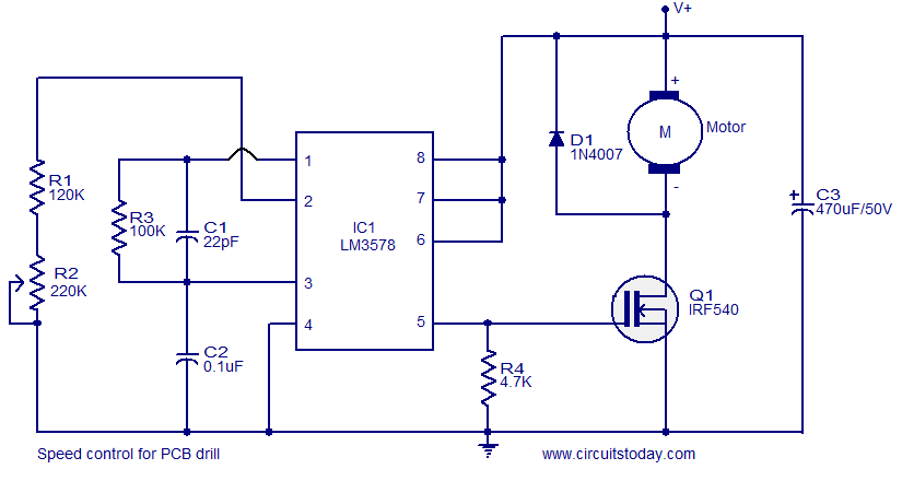 Speed control for pcb drill electronic circuits and for Dc motor control circuit diagram