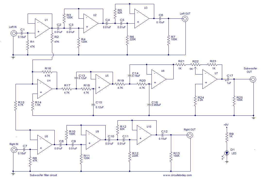 Subwoofer Filter Electronic Circuits And Diagrams Envelope Schematic