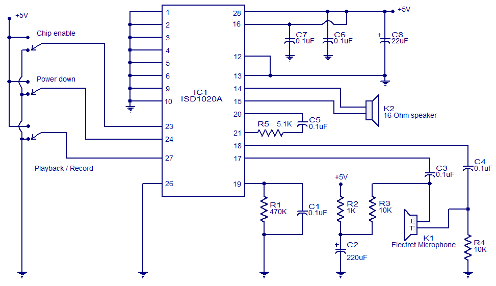 voice recorder playback circuit electronic circuits and diagrams