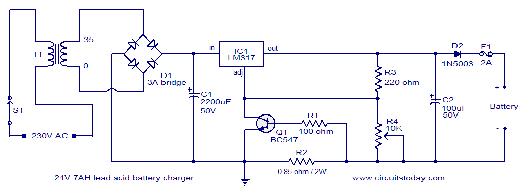 24V lead acid battery charger circuit | Battery Charger Rectifier Wiring Diagram |  | CircuitsToday