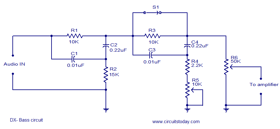 hi fi dx bass circuit electronic circuits and diagrams electronic Ceiling Fan Capacitor Wiring Diagram dx bass circuit