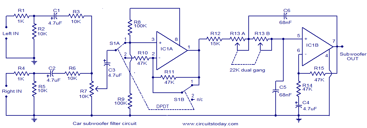 car subwoofer filter electronic circuits and diagrams electronic rh circuitstoday com subwoofer circuit diagram 100w subwoofer circuit diagram download