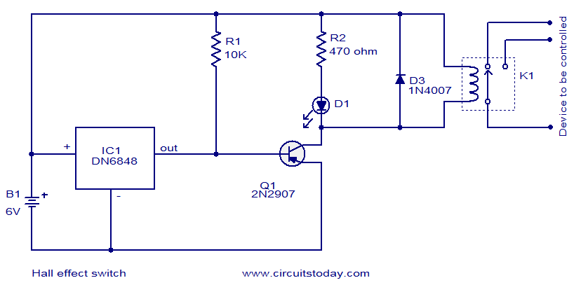 hall effect switch electronic circuits and diagrams electronic rh circuitstoday com hall effect circuit diagram hall effect schematic diagram