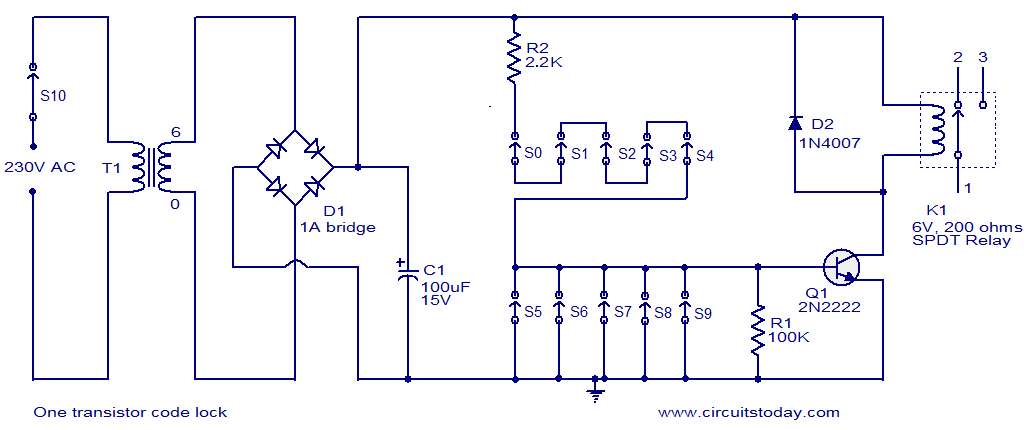 one transistor code lock electronic circuits and diagram one transistor code lock