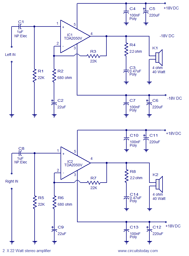 2 x 32 Watt stereo amplifier circuit