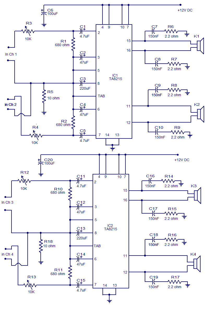 4 X 15 Watt power amplifier - Electronic Circuits and Diagrams ...  Channel Amplifier Schematic Diagram on car battery diagram, amp diagram, amplifier wiring diagram, 12 volt parallel battery wiring diagram, stereo amplifier diagram, amplifier symbol diagram, amplifier microphone, amplifier audio, amplifier installation, burglar alarm wiring diagram, microcontroller diagram, sound amplifier diagram, amplifier parts, pioneer stereo wiring diagram, bridge subwoofer wiring diagram, power amplifier diagram, car amplifier diagram, evoc course diagram, amplifier block diagram, car audio setup diagram,