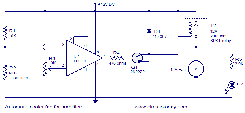 automatic cooler fan for amplifiers electronic circuits and circuit diagram automatic cooler fan for amplifiers