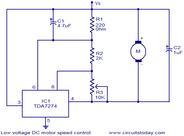 Low voltage DC motor speed control circuit | Dc Electric Motor Wiring Diagram |  | CircuitsToday