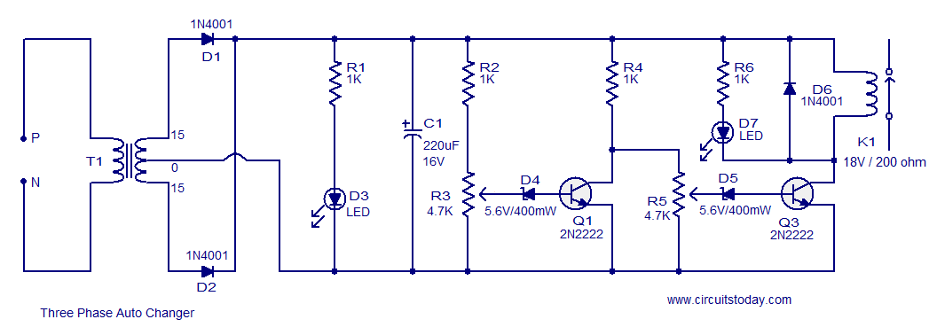three phase auto changer circuit - electronic circuits and diagram, Wiring circuit