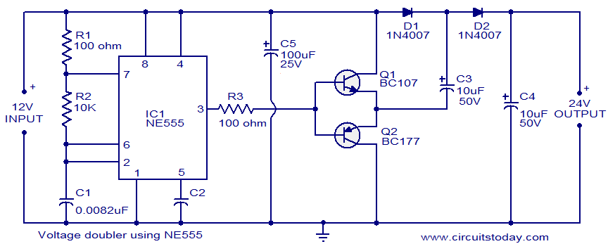 voltage doubler circuit using ne555 electronic circuits and rh circuitstoday com voltage doubler circuit diagram and working voltage doubler circuit diagram and working