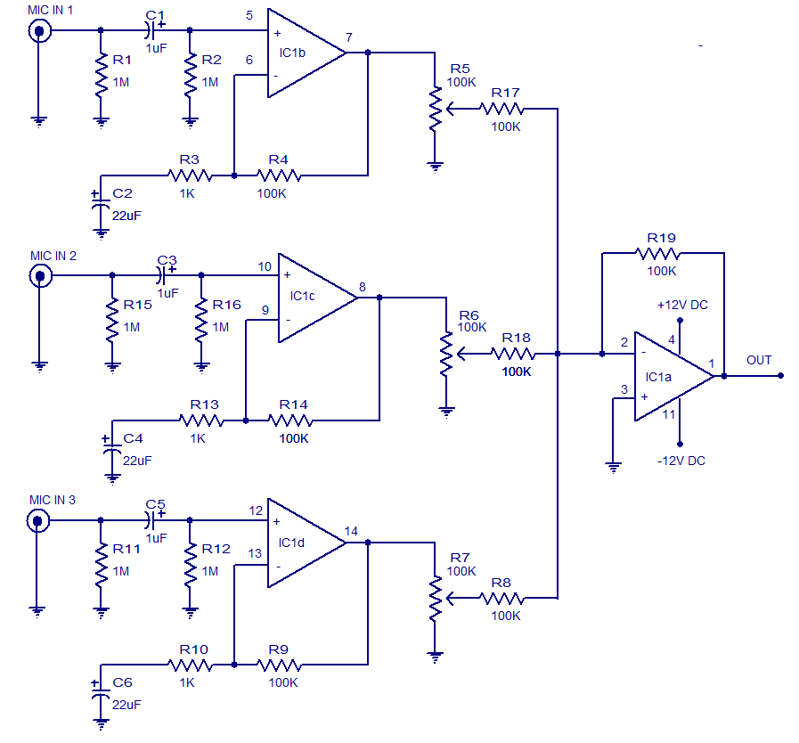 3 input microphone preamplifier electronic circuits and diagrams rh circuitstoday com microphone amplifier circuit diagram condenser microphone amplifier circuit diagram