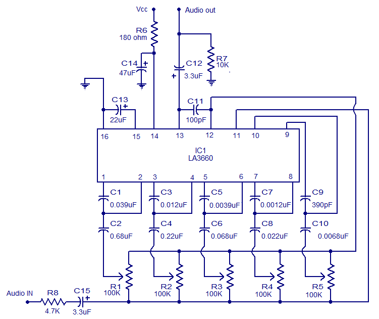 5 band graphic equalizer using la3600 - electronic circuits and, Circuit diagram