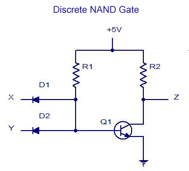 Discrete NAND Gate digital electronics logic gates basics,tutorial,circuit symbols Single Pole Switch Wiring Diagram at creativeand.co