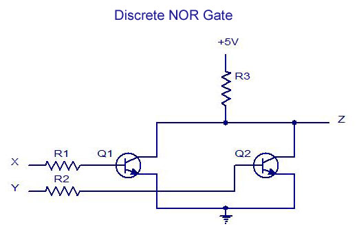 Discrete NOR Gate digital electronics logic gates basics,tutorial,circuit symbols wiring diagram for gateway dx4860-ub33p at virtualis.co