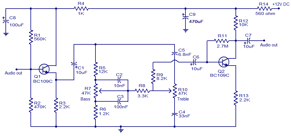 Baxendall tone control circuit - Electronic Circuits and Diagrams ...