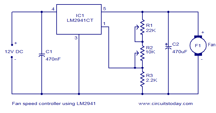 fan speed controller using lm2941 electronic circuits and circuit diagram fan speed controller using lm2941