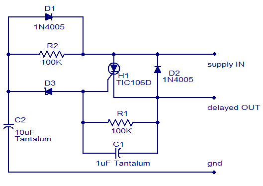 dc power delay circuit