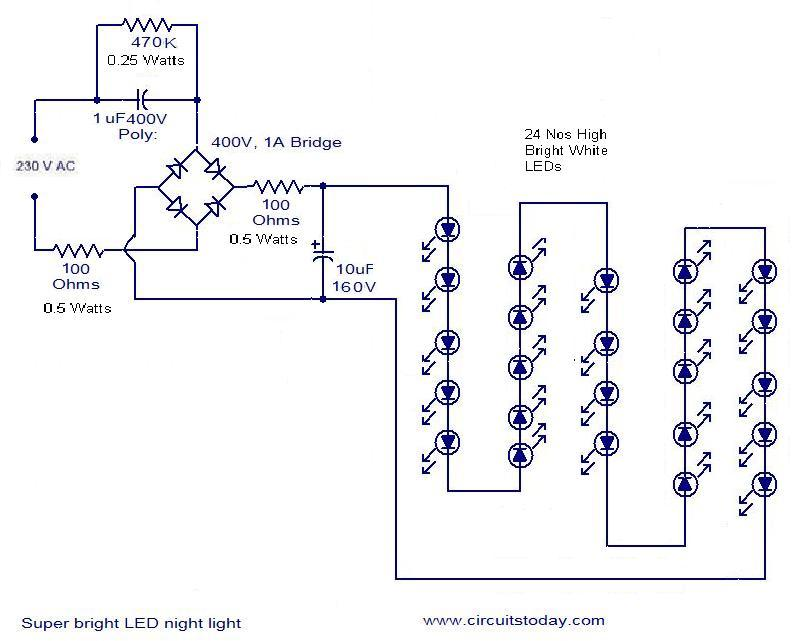 mains operated led circuit - electronic circuits and diagram, Wiring diagram