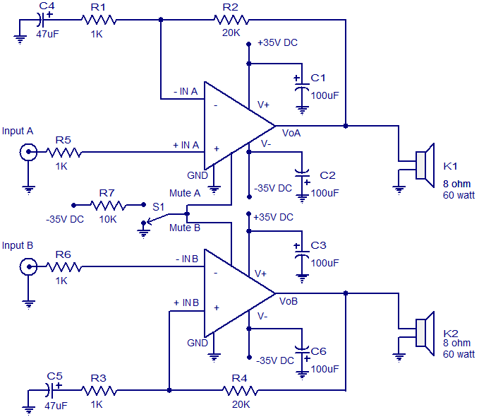2 X 60 W Audio  lifier Circuit on led circuit diagrams