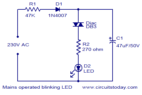 mains operated blinking LED
