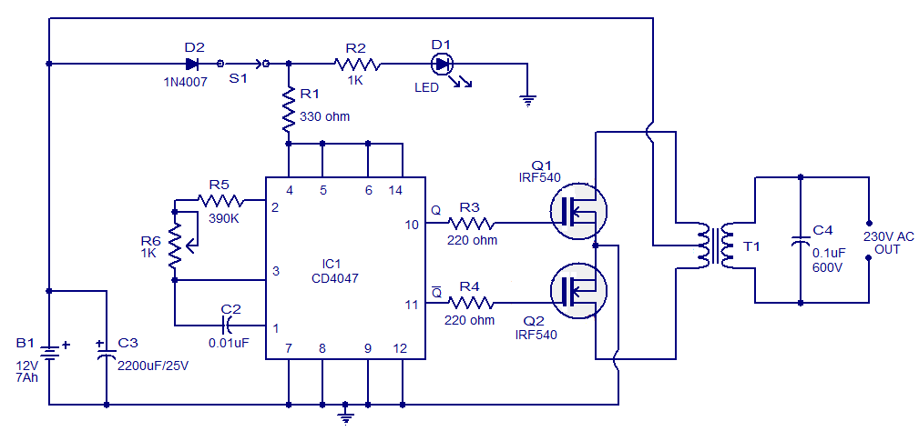 Simple 100w inverter circuit working and circuit diagram updated simple 100w inverter circuit ccuart Image collections