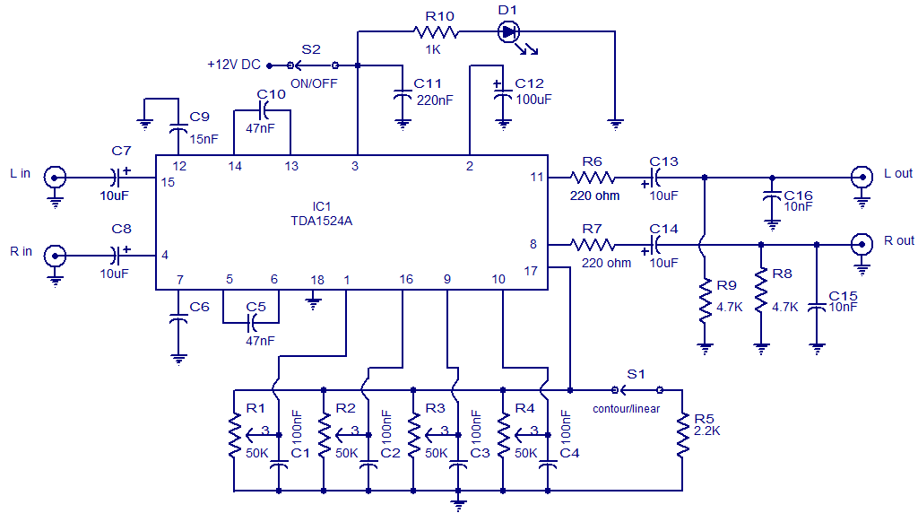 Pre Amp Tone Control With Tda1524a Circuit Diagram - Your Wiring Diagram