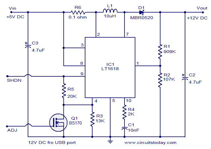 12 Volts DC Power Supply from USB port on usb power supply cable, usb port schematic, usb 5v power supply, usb interface schematic, usb pcb schematic, usb led schematic, usb pin out schematic, usb splitter schematic, usb headset schematic, usb oscilloscope schematic, usb port power supply, usb connector schematic, usb power supply component, usb adapter schematic, usb type schematic, usb card reader schematic, usb wiring schematic, usb solar charger circuit, usb power diagram, usb power supply specification,