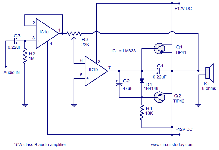 audio amplifier circuit 15 watts class b circuit diagram of audio amplifier 15w