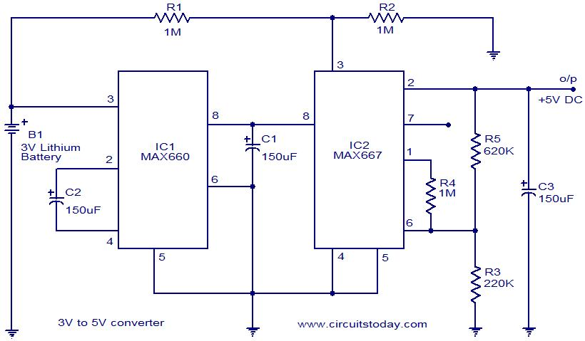 Voltage Converter 3volt To 5volt Circuit Using Max660 And Max667