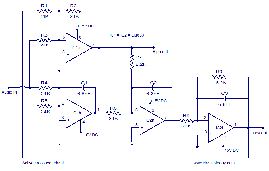 active crossover circuit schematic design and diagram rh circuitstoday com subwoofer crossover circuit diagram passive crossover circuit diagram