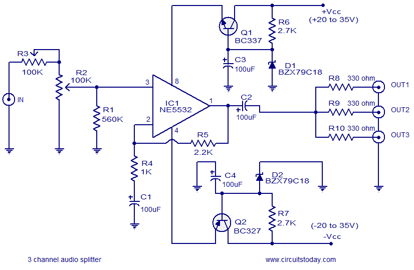 audio splitter circuit 3 channel audio splitter electronic circuits and diagram Simple Wiring Diagrams at crackthecode.co
