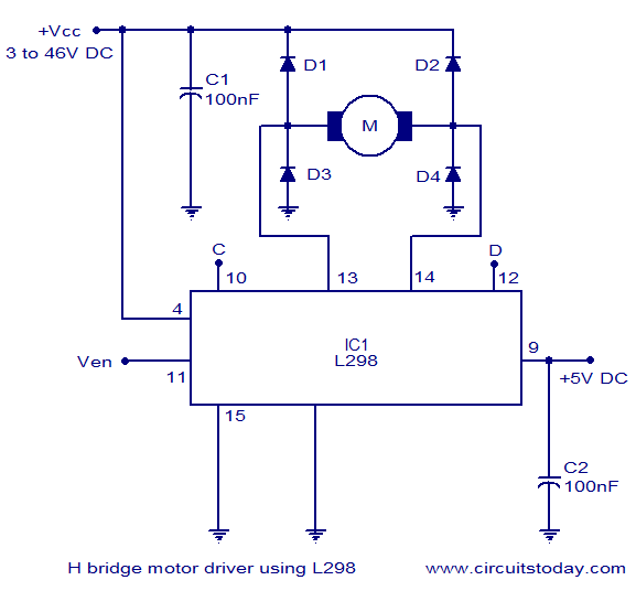 h bridge motor control circuit schematic diagram using ic l298 rh circuitstoday com