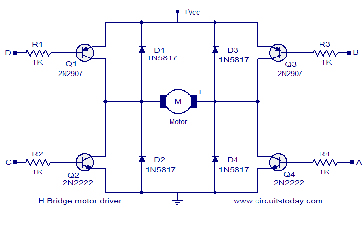 h bridge motor driver circuit electronic circuits and diagrams rh circuitstoday com l298 h bridge circuit diagram h bridge circuit diagram dc motor