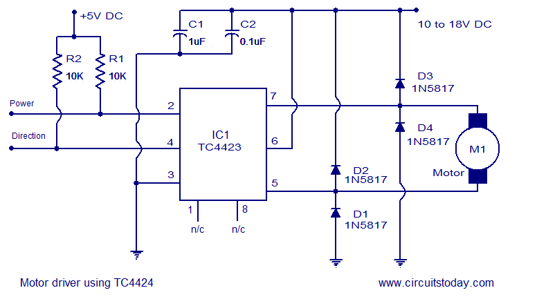 Motor Driver Using Tc4424 Electronic Circuits And