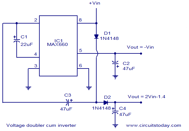 voltage doubler and inverter circuit diagram with schematic rh circuitstoday com circuit diagram voltage multiplier circuit diagram voltage regulator using zener diode