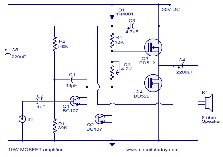 Popular Mosfet Audio Amplifier Circuits-Circuit Diagrams